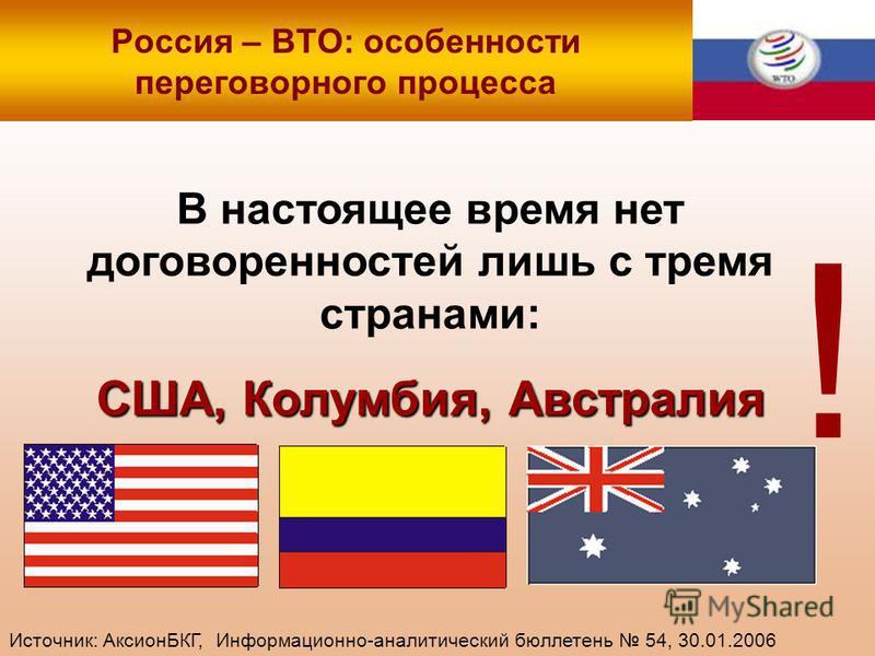 Россия – ВТО: особенности переговорного процесса В настоящее время нет договоренностей лишь с тремя странами: США, Колумбия, Австралия ! Источник: АксионБКГ, Информационно-аналитический бюллетень 54, 30.01.2006