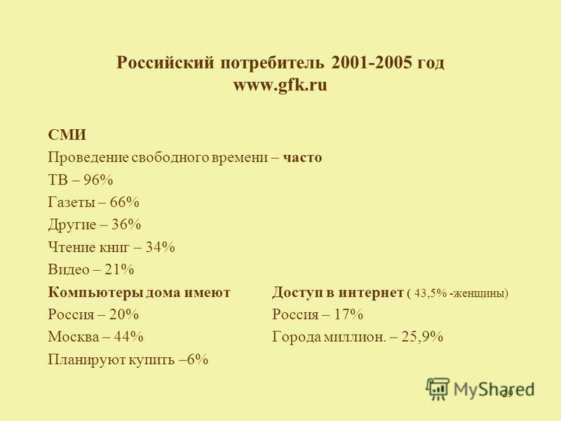 29 Российский потребитель 2001-2005 год www.gfk.ru СМИ Проведение свободного времени – часто ТВ – 96% Газеты – 66% Другие – 36% Чтение книг – 34% Видео – 21% Компьютеры дома имеют Доступ в интернет ( 43,5% -женщины) Россия – 20%Россия – 17% Москва –