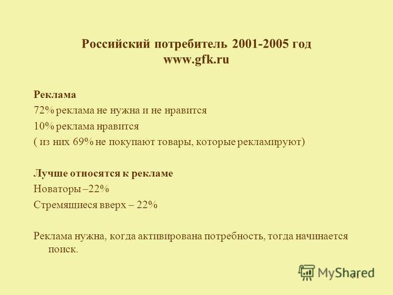 31 Российский потребитель 2001-2005 год www.gfk.ru Реклама 72% реклама не нужна и не нравится 10% реклама нравится ( из них 69% не покупают товары, которые рекламируют) Лучше относятся к рекламе Новаторы –22% Стремящиеся вверх – 22% Реклама нужна, ко
