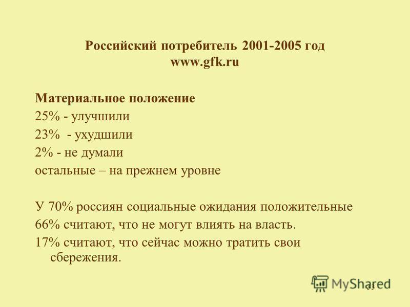 33 Российский потребитель 2001-2005 год www.gfk.ru Материальное положение 25% - улучшили 23% - ухудшили 2% - не думали остальные – на прежнем уровне У 70% россиян социальные ожидания положительные 66% считают, что не могут влиять на власть. 17% счита
