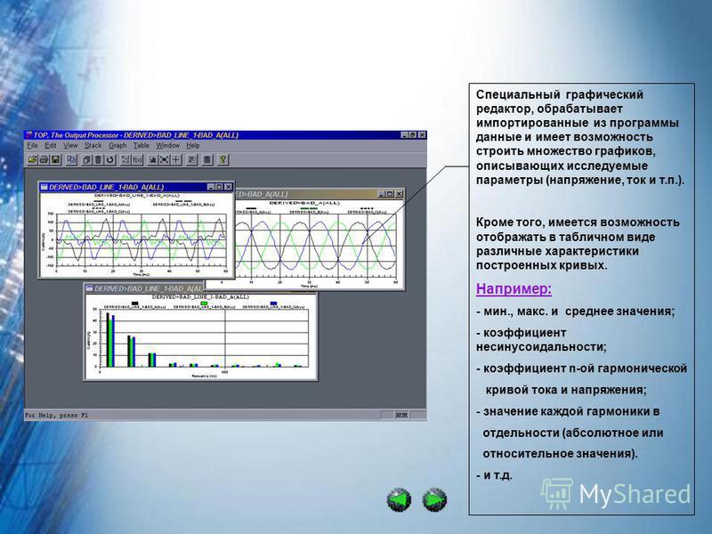Специальный графический редактор, обрабатывает импортированые из программы даные и имеет возможность строить множество графиков, описывающих исследуемые параметры (напряжение, ток и т.п.). Кроме того, имеется возможность отображать в табличном виде р