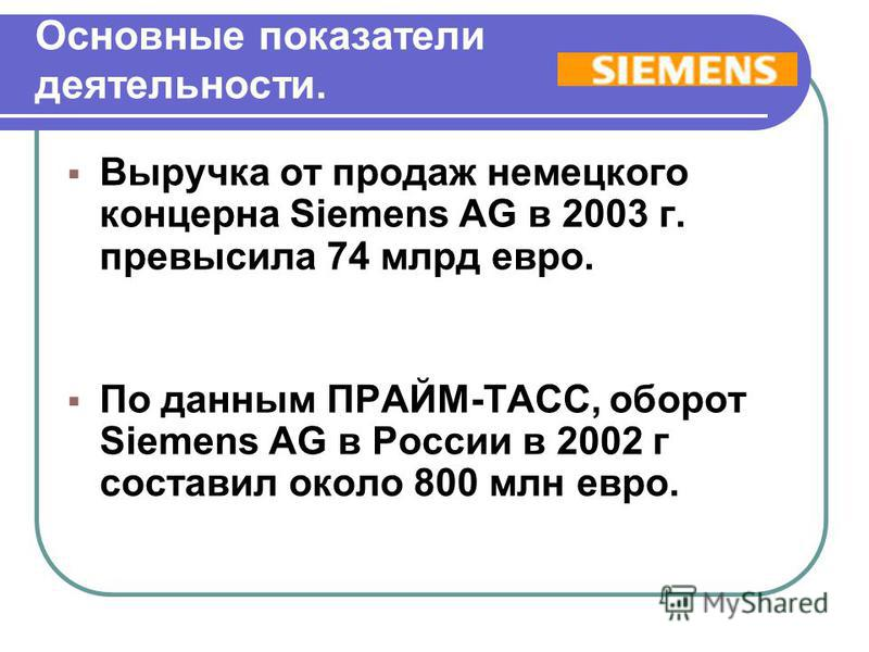 Основные показатели деятельности. Выручка от продаж немецкого концерна Siemens AG в 2003 г. превысила 74 млрд евро. По данным ПРАЙМ-ТАСС, оборот Siemens AG в России в 2002 г составил около 800 млн евро. Выручка от продаж немецкого концерна Siemens AG