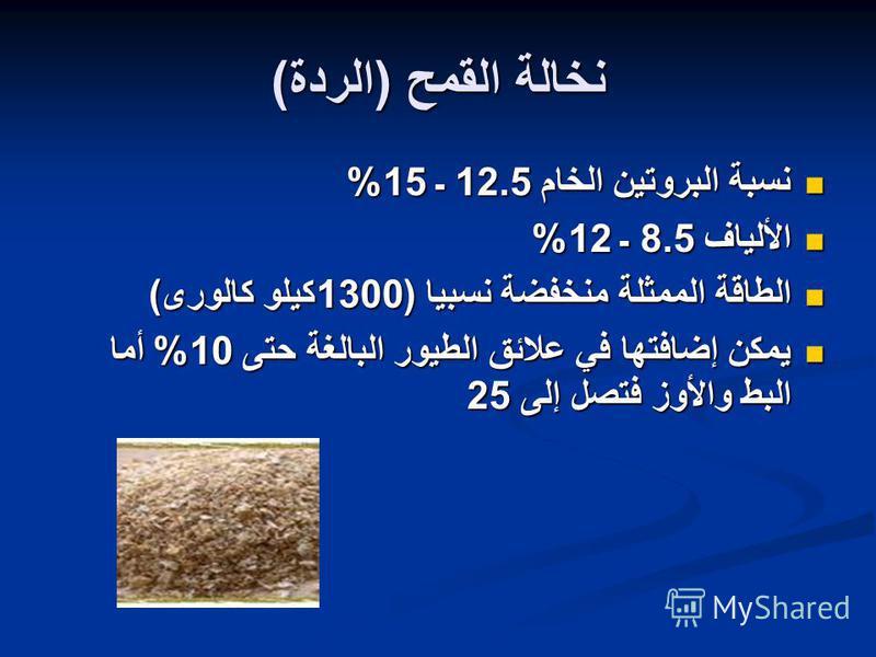 نخالة القمح ( الردة ) نسبة البروتين الخام 12.5 ـ 15% نسبة البروتين الخام 12.5 ـ 15% الألياف 8.5 ـ 12% الألياف 8.5 ـ 12% الطاقة الممثلة منخفضة نسبيا (1300 كيلو كالورى ) الطاقة الممثلة منخفضة نسبيا (1300 كيلو كالورى ) يمكن إضافتها في علائق الطيور البال