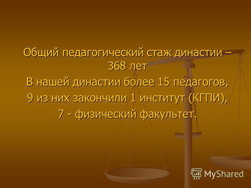 Общий педагогический стаж династии – 368 лет В нашей династии более 15 педагогов, 9 из них закончили 1 институт (КГПИ), 7 - физический факультет.