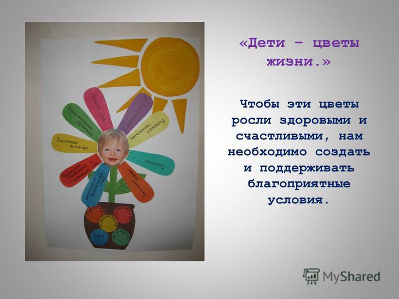 «Дети – цветы жизни.» Чтобы эти цветы росли здоровыми и счастливыми, нам необходимо создать и поддерживать благоприятные условия.