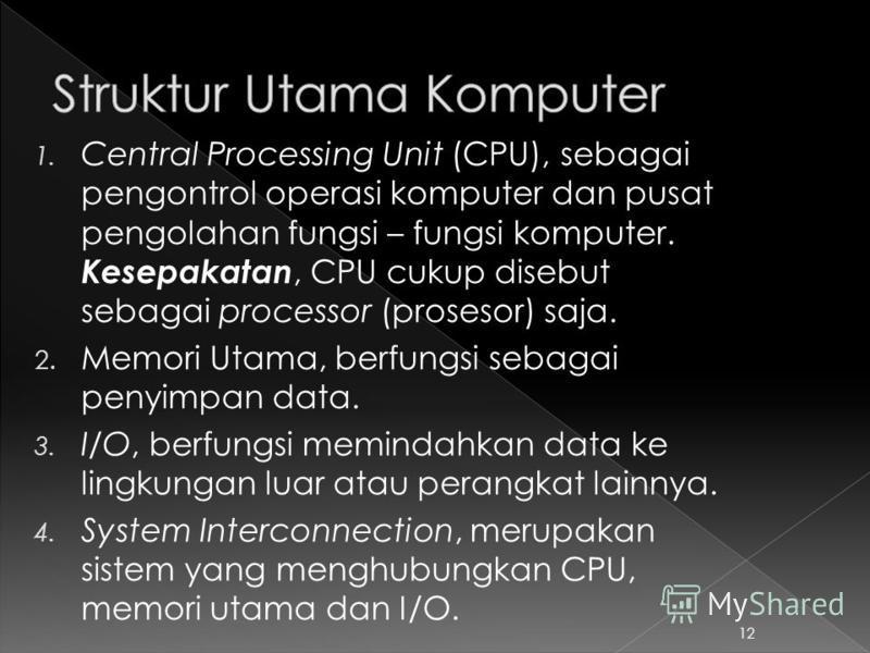 1. Central Processing Unit (CPU), sebagai pengontrol operasi komputer dan pusat pengolahan fungsi – fungsi komputer. Kesepakatan, CPU cukup disebut sebagai processor (prosesor) saja. 2. Memori Utama, berfungsi sebagai penyimpan data. 3. I/O, berfungs