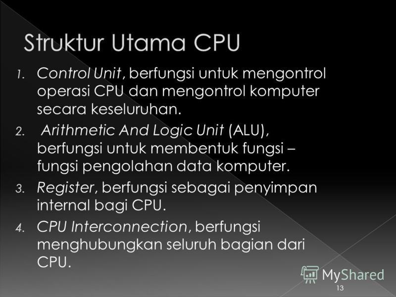 1. Control Unit, berfungsi untuk mengontrol operasi CPU dan mengontrol komputer secara keseluruhan. 2. Arithmetic And Logic Unit (ALU), berfungsi untuk membentuk fungsi – fungsi pengolahan data komputer. 3. Register, berfungsi sebagai penyimpan inter