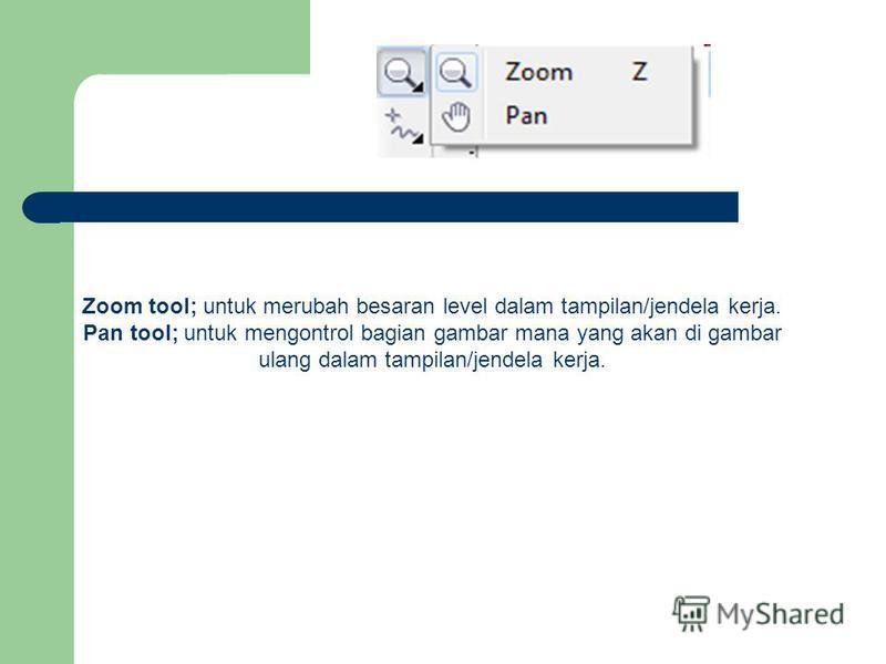 Zoom tool; untuk merubah besaran level dalam tampilan/jendela kerja. Pan tool; untuk mengontrol bagian gambar mana yang akan di gambar ulang dalam tampilan/jendela kerja.