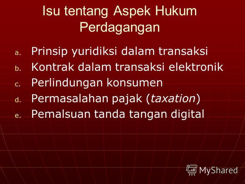 Isu tentang Aspek Hukum Perdagangan a. a. Prinsip yuridiksi dalam transaksi b. b. Kontrak dalam transaksi elektronik c. c. Perlindungan konsumen d. d. Permasalahan pajak (taxation) e. e. Pemalsuan tanda tangan digital