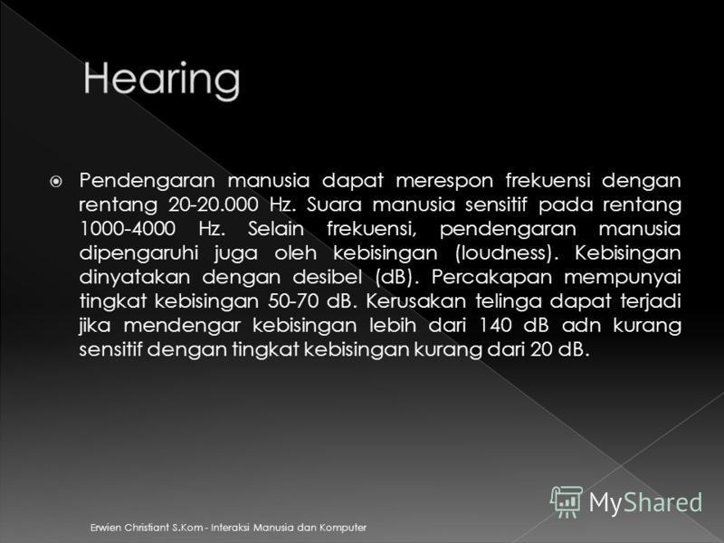 Pendengaran manusia dapat merespon frekuensi dengan rentang 20-20.000 Hz. Suara manusia sensitif pada rentang 1000-4000 Hz. Selain frekuensi, pendengaran manusia dipengaruhi juga oleh kebisingan (loudness). Kebisingan dinyatakan dengan desibel (dB).
