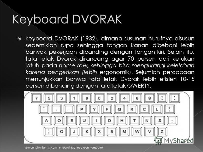 keyboard DVORAK (1932), dimana susunan hurufnya disusun sedemikian rupa sehingga tangan kanan dibebani lebih banyak pekerjaan dibanding dengan tangan kiri. Selain itu, tata letak Dvorak dirancang agar 70 persen dari ketukan jatuh pada home row, sehin