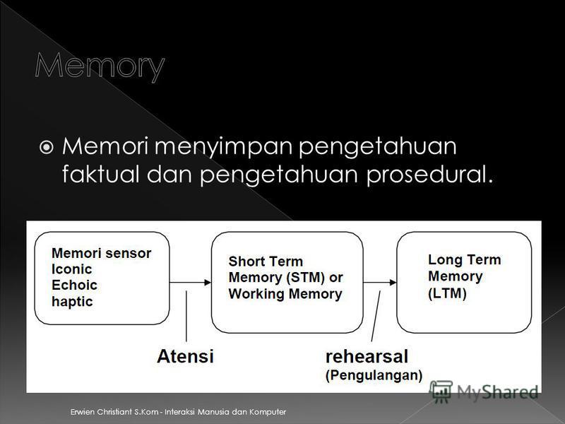 Memori menyimpan pengetahuan faktual dan pengetahuan prosedural.