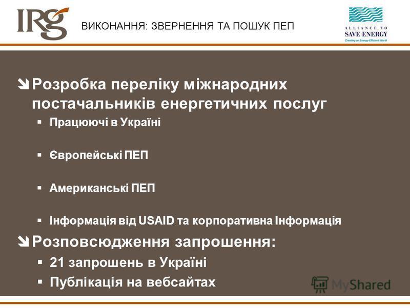 îРозробка переліку міжнародних постачальників енергетичних послуг Працюючі в Україні Європейські ПЕП Американські ПЕП Інформація від USAID та корпоративна Інформація îРозповсюдження запрошення: 21 запрошень в Україні Публікація на вебсайтах ВИКОНАННЯ