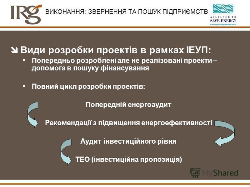 îВиди розробки проектів в рамках ІЕУП: Попередньо розроблені але не реалізовані проекти – допомога в пошуку фінансування Повний цикл розробки проектів: Попередній енергоаудит Рекомендації з підвищення енергоефективності Аудит інвестиційного рівня ТЕО