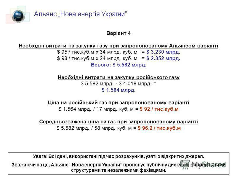 Варіант 4 Необхідні витрати на закупку газу при запропонованому Альянсом варіанті $ 95 / тис.куб.м х 34 млрд. куб. м = $ 3.230 млрд. $ 98 / тис.куб.м х 24 млрд. куб. м = $ 2.352 млрд. Всього: $ 5.582 млрд. Необхідні витрати на закупку російського газ