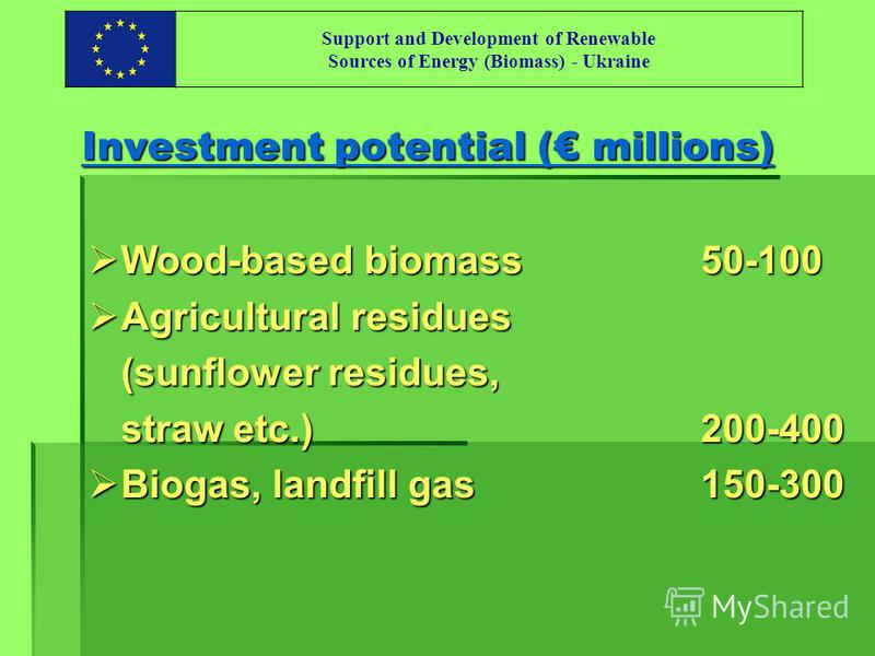 Support and Development of Renewable Sources of Energy (Biomass) - Ukraine Investment potential ( millions) Wood-based biomass50-100 Wood-based biomass50-100 Agricultural residues Agricultural residues (sunflower residues, straw etc.)200-400 Biogas,
