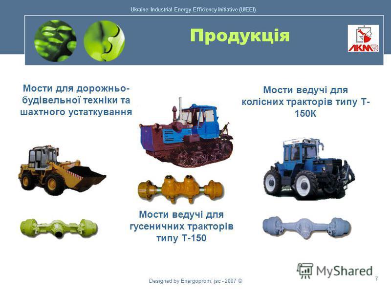 Ukraine Industrial Energy Efficiency Initiative (UIEEI) Designed by Energoprom, jsc - 2007 © 6 Продукція Поковки і гарячі штамповки: для автомобільної й тракторної промисловості, сільськогосподарського машинобудування, гірничодобувного, енергетичного