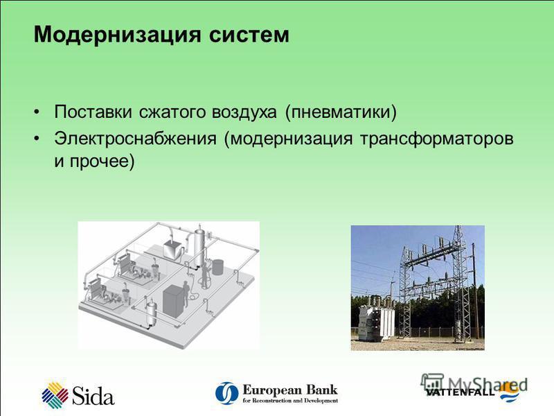 Модернизация систем Поставки сжатого воздуха (пневматики) Электроснабжения (модернизация трансформаторов и прочее)
