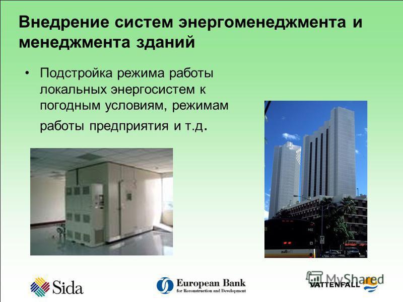 Внедрение систем энергоменеджмента и менеджмента зданий Подстройка режима работы локальных энергосистем к погодным условиям, режимам работы предприятия и т.д.