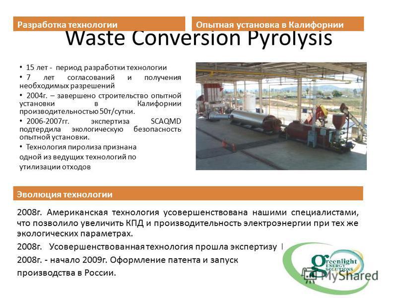 Waste Conversion Pyrolysis Разработка технологии 15 лет - период разработки технологии 7 лет согласований и получения необходимых разрешений 2004 г. – завершено строительство опытной установки в Калифорнии производительностью 50 т/сутки. 2006-2007 гг