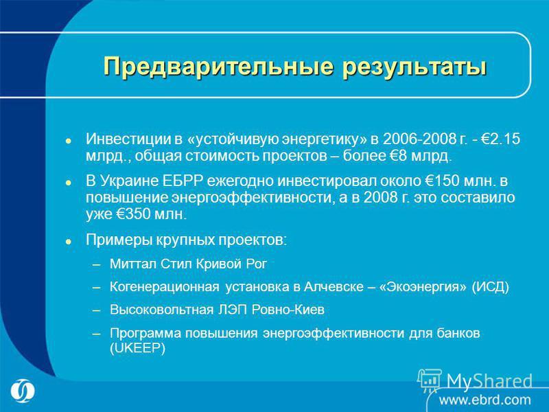 Предварительные результаты Инвестиции в «устойчивую энергетику» в 2006-2008 г. - 2.15 млрд., общая стоимость проектов – более 8 млрд. В Украине ЕБРР ежегодно инвестировал около 150 млн. в повышение энергоэффективности, а в 2008 г. это составило уже 3