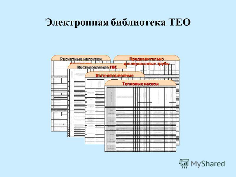 Электронная библиотека ТЕО Расчетные нагрузки отопления Востановление ГВС Когенерационные установки Предварительно изолированные трубы Тепловые насосы