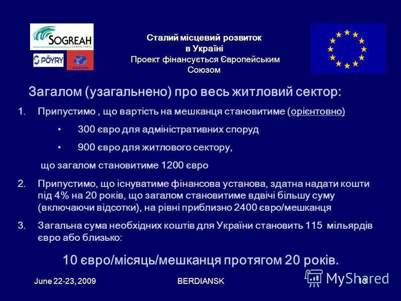 Сталий місцевий розвиток в Україні Проект фінансується Європейським Союзом June 22-23, 2009BERDIANSK12 Детальніше про ЕНЕРГОЕФЕКТИВНІСТЬ в будинках (6) Стосовно приватного житлового сектору: Відсутність проблем з правами власності Відсутність проблем