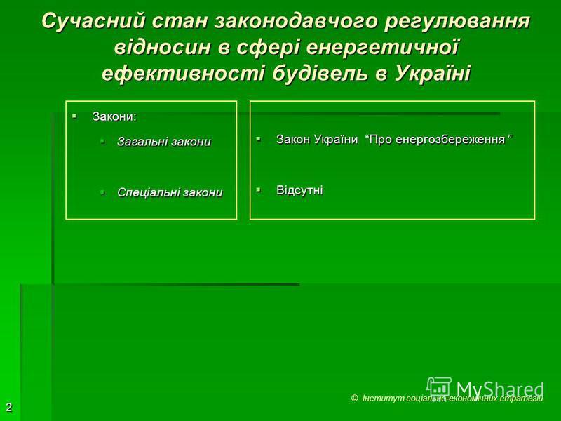 2 Сучасний стан законодавчого регулювання відносин в сфері енергетичної ефективності будівель в Україні Закони: Закони: Загальні закони Загальні закони Спеціальні закони Спеціальні закони Закон України Про енергозбереження Закон України Про енергозбе