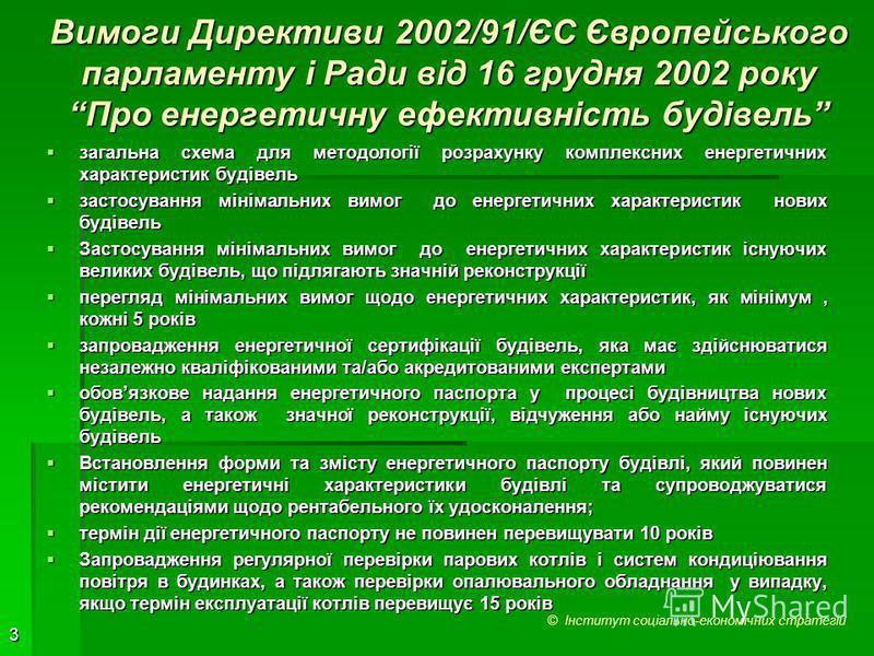3 Вимоги Директиви 2002/91/ЄС Європейського парламенту і Ради від 16 грудня 2002 року Про енергетичну ефективність будівель загальна схема для методології розрахунку комплексних енергетичних характеристик будівель загальна схема для методології розра