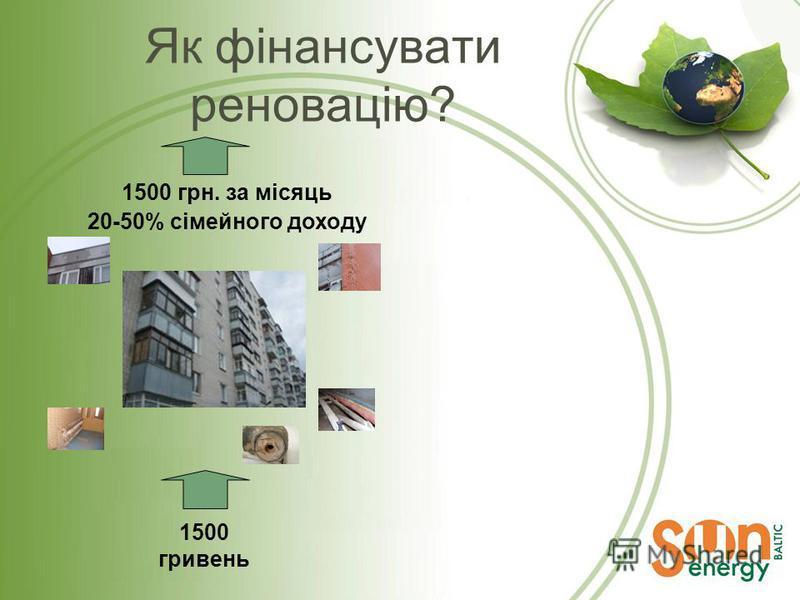 Як фінансувати реновацію? 1500 гривень 1500 грн. за місяць 20-50% сімейного доходу