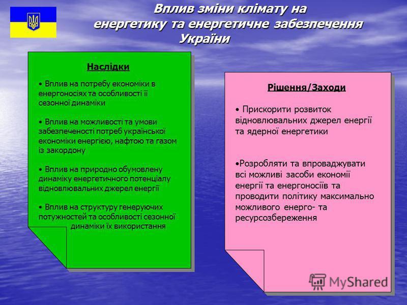Вплив зміни клімату на енергетику та енергетичне забезпечення України Вплив зміни клімату на енергетику та енергетичне забезпечення України Наслідки Вплив на потребу економіки в енергоносіях та особливості її сезонної динаміки Вплив на можливості та