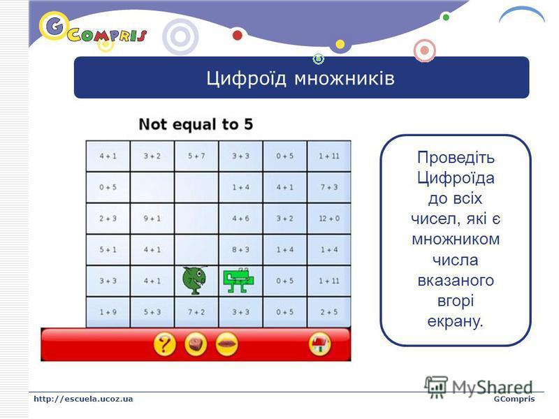 LOGO http://escuela.ucoz.uaGCompris Цифроїд множників Проведіть Цифроїда до всіх чисел, які є множником числа вказаного вгорі екрану.
