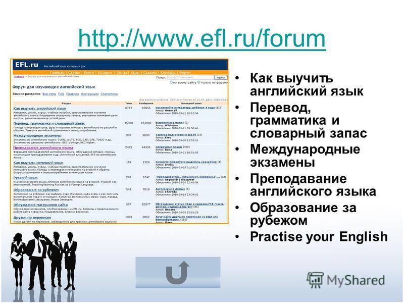 http://www.efl.ru/forum Как выучить английский язык Перевод, грамматика и словарный запас Международные экзамены Преподавание английского языка Образование за рубежом Practise your English