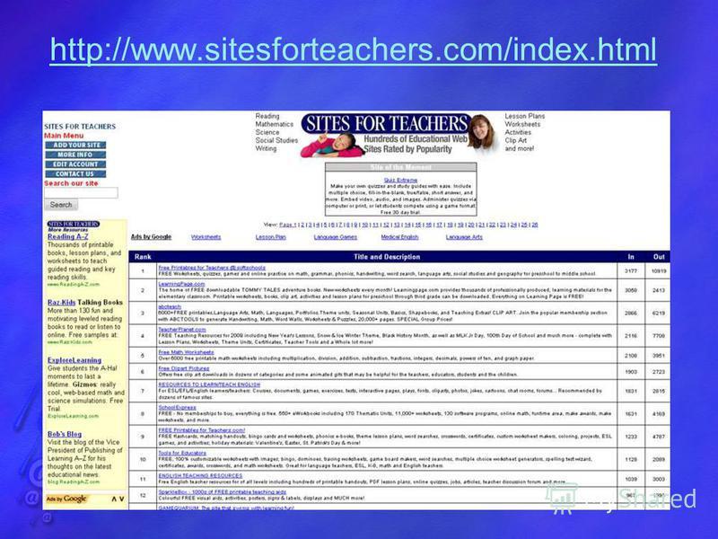 http://www.sitesforteachers.com/index.html