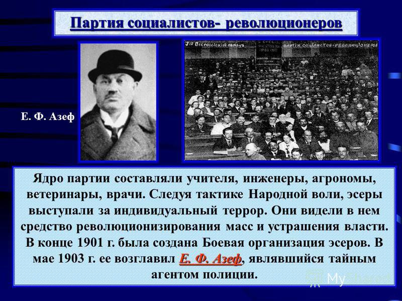 Е. Ф. Азеф Ядро партии составляли учителя, инженеры, агрономы, ветеринары, врачи. Следуя тактике Народной воли, эсеры выступали за индивидуальный террор. Они видели в нем средство революционизирования масс и устрашения власти. В конце 1901 г. была со