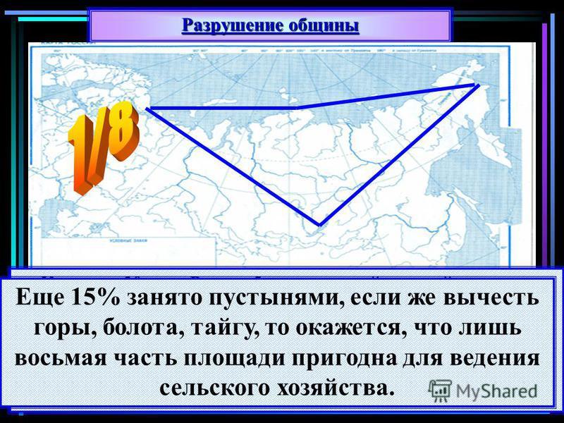 Разрушение общины К началу 20 века Россия была аграрной страной по числу жителей проживающих на селе: 82%. Если посмотреть на карту России в границах до 1913 года то на ее территории мы увидим гигантский треугольник вечной мерзлоты с вершинами у Коль