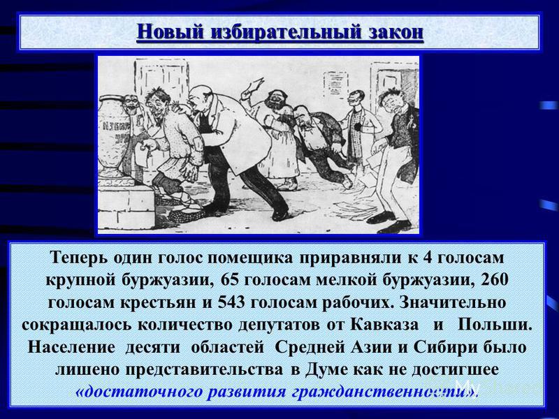 Новый избирательный закон Теперь один голос помещика приравняли к 4 голосам крупной буржуазии, 65 голосам мелкой буржуазии, 260 голосам крестьян и 543 голосам рабочих. Значительно сокращалось количество депутатов от Кавказа и Польши. Население десяти