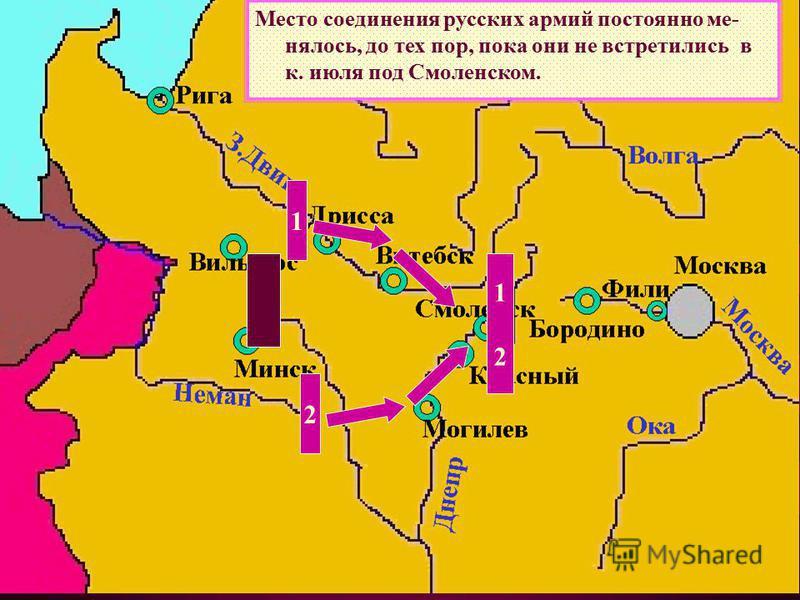 Место соединения русских армий постоянно менялось, до тех пор, пока они не встретились в к. июля под Смоленском. 1 2 1212