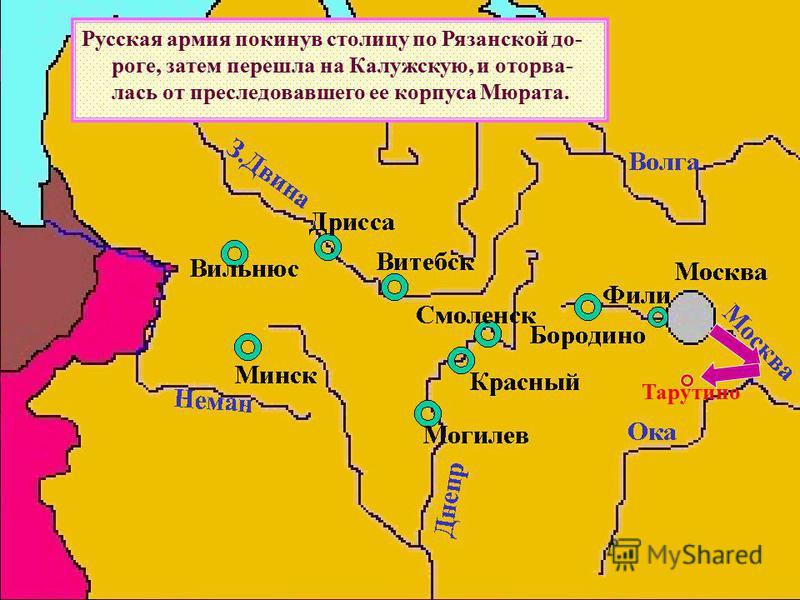 Русская армия покинув столицу по Рязанской до- роге, затем перешла на Калужскую, и оторва- лась от преследовавшего ее корпуса Мюрата. Тарутино