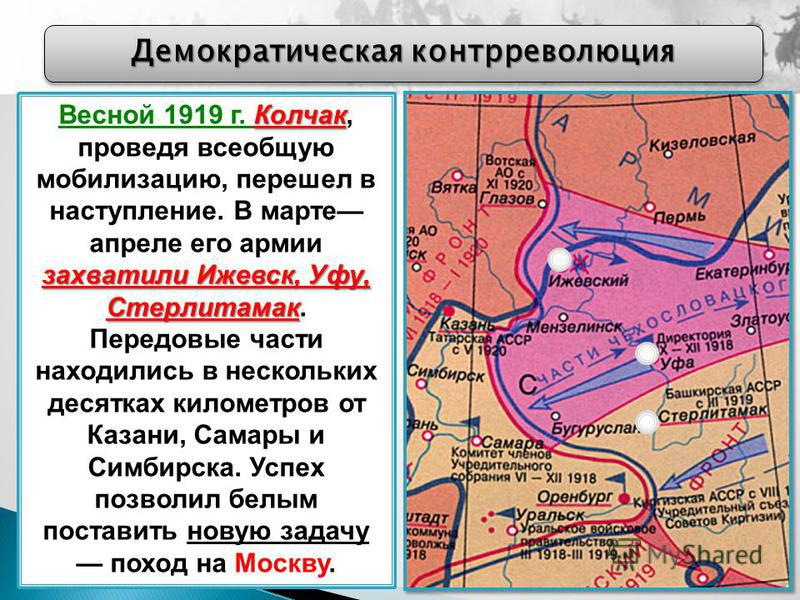 Демократическая контрреволюция Колчак захватили Ижевск, Уфу, Стерлитамак Весной 1919 г. Колчак, проведя всеобщую мобилизацию, перешел в наступление. В марте апреле его армии захватили Ижевск, Уфу, Стерлитамак. Передовые части находились в нескольких