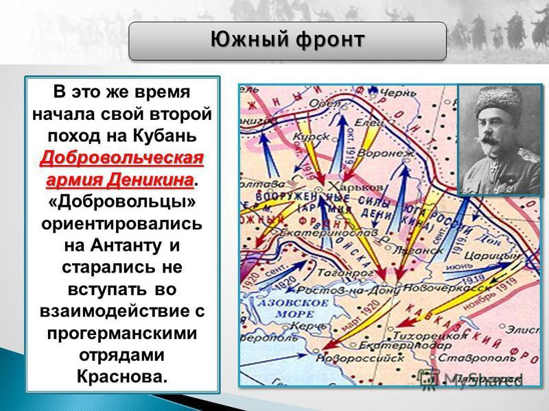 Добровольческая армия Деникина В это же время начала свой второй поход на Кубань Добровольческая армия Деникина. «Добровольцы» ориентировались на Антанту и старались не вступать во взаимодействие с прогерманскими отрядами Краснова. Южный фронт