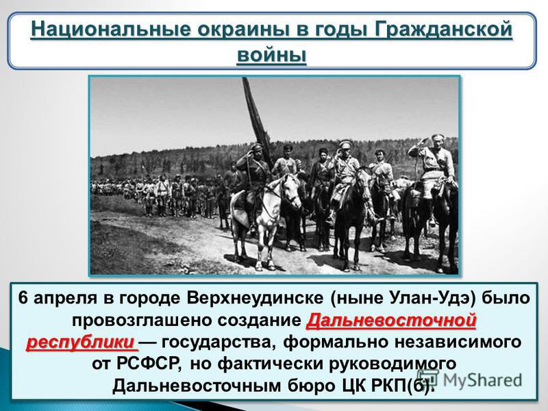 Национальные окраины в годы Гражданской войны Дальневосточной республики 6 апреля в городе Верхнеудинске (ныне Улан-Удэ) было провозглашено создание Дальневосточной республики государства, формально независимого от РСФСР, но фактически руководимого Д