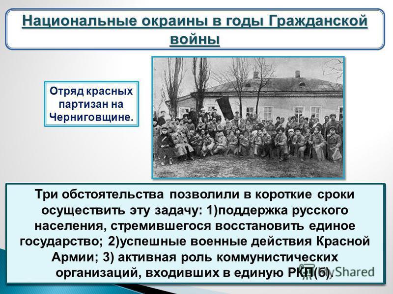 Национальные окраины в годы Гражданской войны Брестский договор 13 ноября 1918 г. советское правительство аннулировало Брестский договор. Расширение советской системы шло путем освобождения оккупированных немецко-австрийскими войсками территорий. Дан