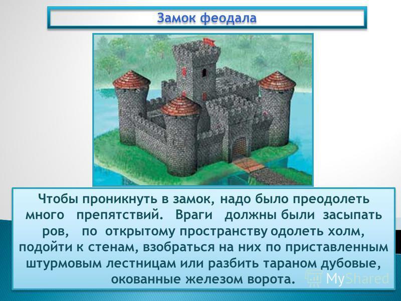 Замок феодала Чтобы проникнуть в замок, надо было преодолеть много препятствий. Враги должны были засыпать ров, по открытому пространству одолеть холм, подойти к стенам, взобраться на них по приставленным штурмовым лестницам или разбить тараном дубов
