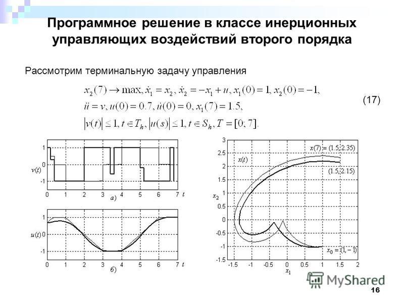 16 Программное решение в классе инерционных управляющих воздействий второго порядка Рассмотрим терминальную задачу управления (17)