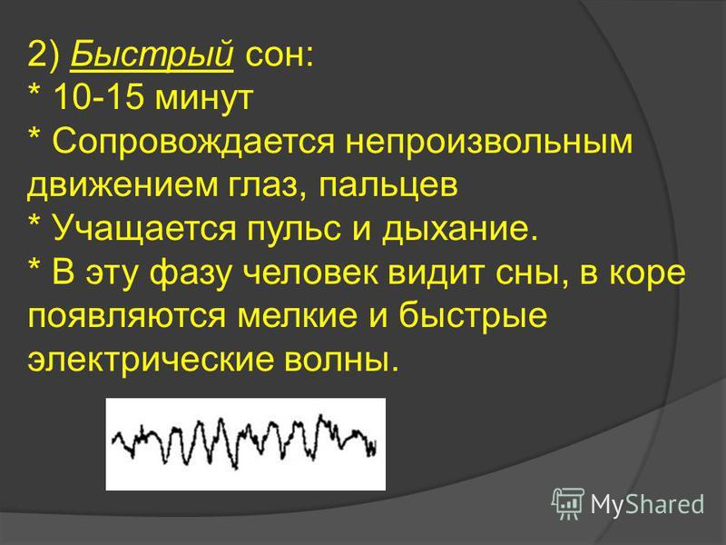 2) Быстрый сон: * 10-15 минут * Сопровождается непроизвольным движением глаз, пальцев * Учащается пульс и дыхание. * В эту фазу человек видит сны, в коре появляются мелкие и быстрые электрические волны.