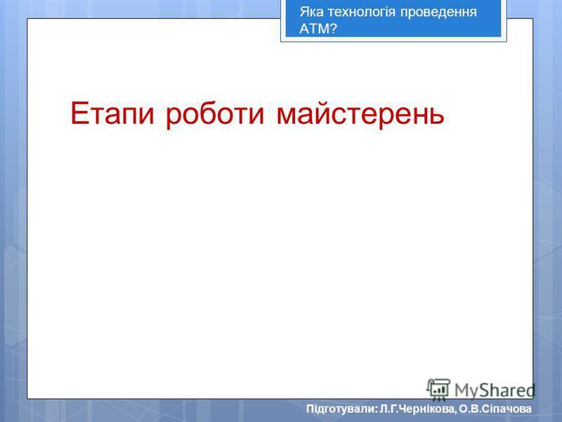 Підготували: Л.Г.Чернікова, О.В.Сіпачова Етапи роботи майстерень Яка технологія проведення АТМ?