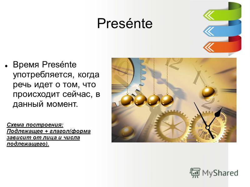 Presénte Время Presénte употребляется, когда речь идет о том, что происходит сейчас, в данный момент. Схема построения: Подлежащее + глагол(форма зависит от лица и числа подлежащего).
