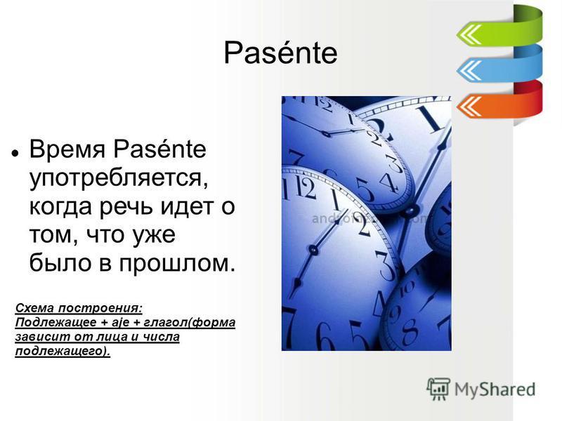 Pasénte Время Pasénte употребляется, когда речь идет о том, что уже было в прошлом. Схема построения: Подлежащее + aje + глагол(форма зависит от лица и числа подлежащего).