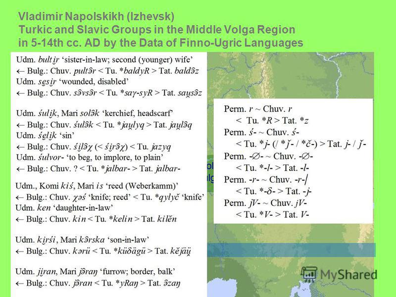 Vladimir Napolskikh (Izhevsk) Turkic and Slavic Groups in the Middle Volga Region in 5-14th сс. AD by the Data of Finno-Ugric Languages Magna Bulgaria PPerm Volga Bulgaria Khazarian qaganate